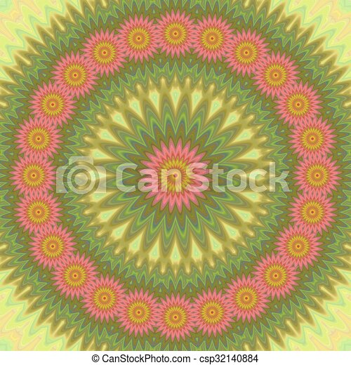 Abstract floral mandala design background - csp32140884