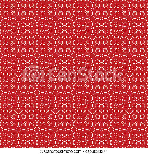 Abstract floral seamless red pattern - csp3838271