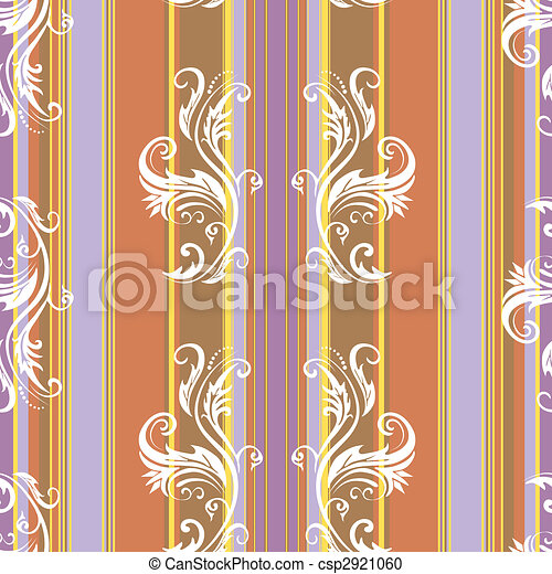 Abstract floral stripes background (vector) - csp2921060