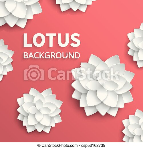 Abstract Floral Vector Background With Paper Lotus Flowers Lotus
