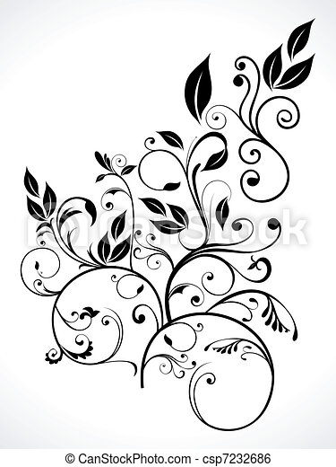 abstract floral with leaf - csp7232686