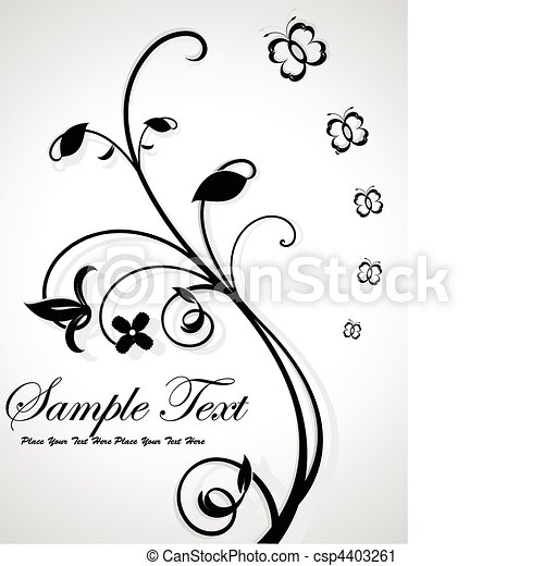 abstract floral with sample text  - csp4403261