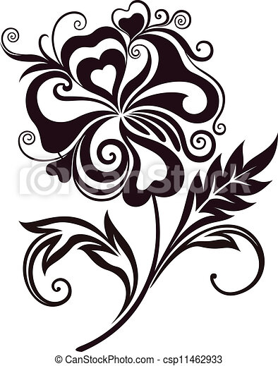 Abstract flower line art csp11462933