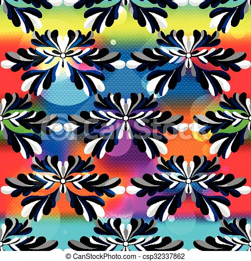 abstract flower petals on a beautiful psychedelic background seamless pattern - csp32337862