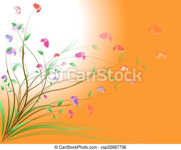 Abstract flowers background - csp32687736
