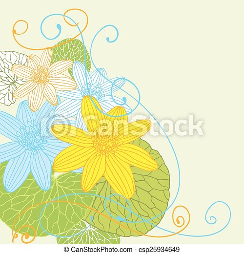 Abstract flowers background with place for your text - csp25934649