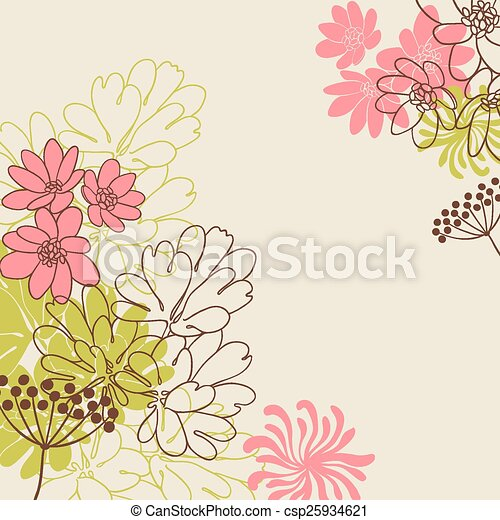 Abstract flowers background with place for your text - csp25934621