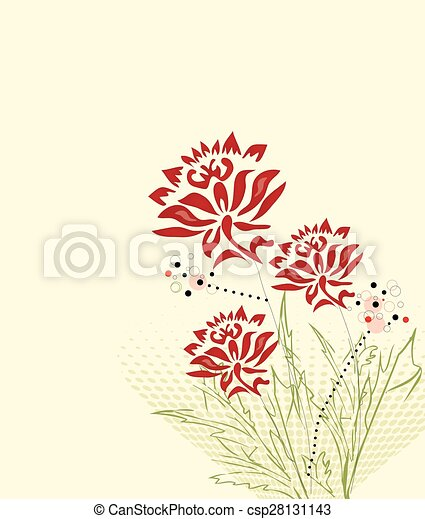 Abstract flowers background with text - csp28131143