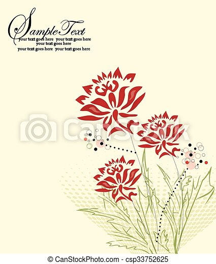 Abstract flowers background with text - csp33752625