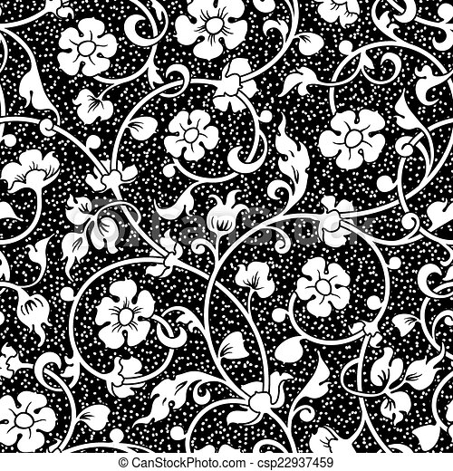 abstract flowers seamless pattern - csp22937459