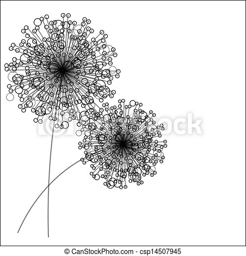Abstract Flowers Silhouette Vector Illustration