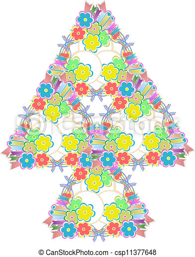 Abstract flowers tree on white background - csp11377648