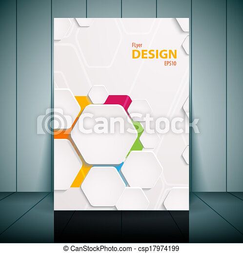 Abstract flyer vector template. Vector illustration for your business presentation - csp17974199