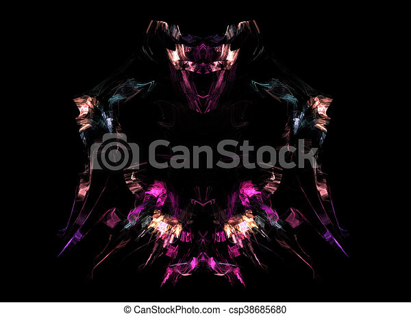 Abstract fractal background, fantasy warrior image - csp38685680