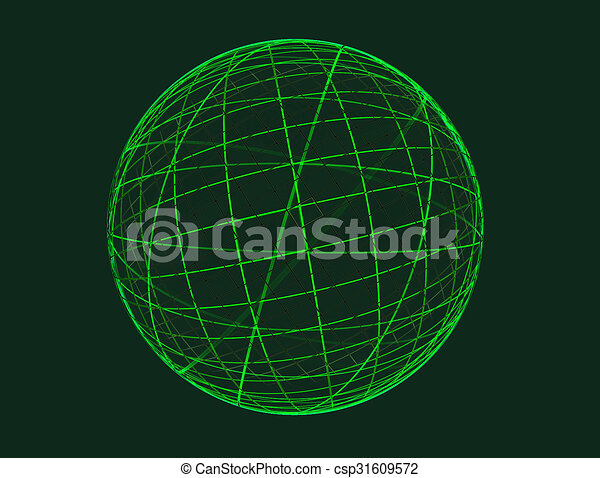 Abstract fractal green globe on ligcht background - csp31609572