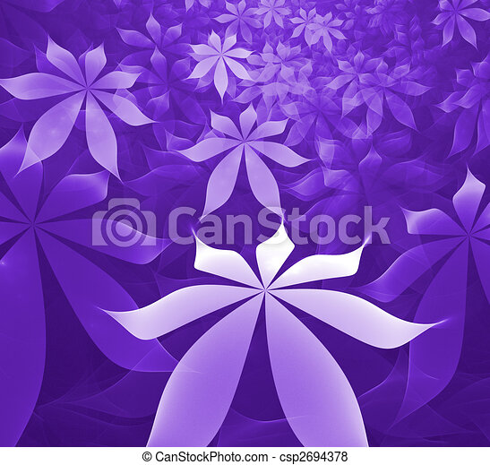 abstract fractal rendering resembling soft purple flowers - csp2694378