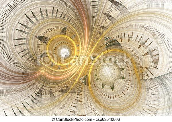 Abstract fractal spirals on light background. - csp63540806