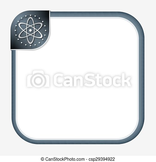 Abstract frame for your text with dark corner and science symbol.