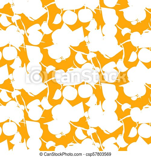 Abstract Fruit Silhouette Orange Seamless Vector Pattern