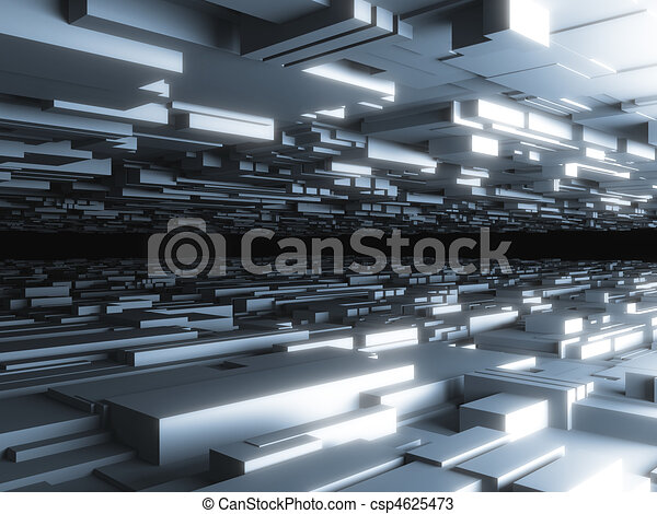 abstract futuristic background with glowing blocks, high quality 3d render - csp4625473