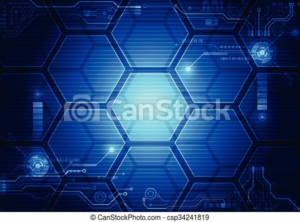 Abstract futuristic interface HUD technology background. Illustration Vector - csp34241819