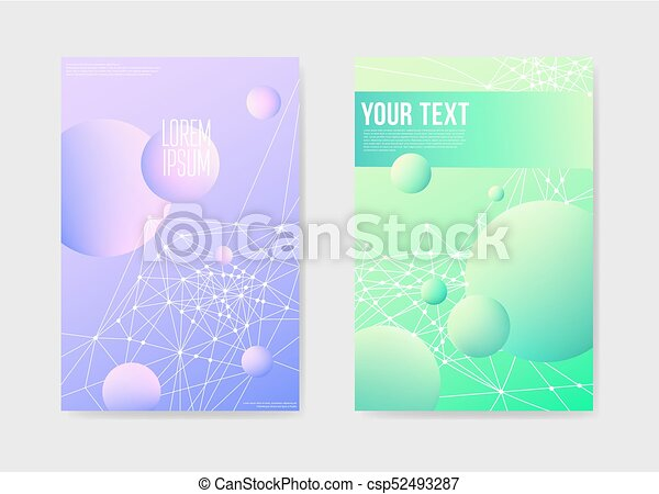 Abstract Futuristic Poster With D Shapes Background Placard - 3d brochure template