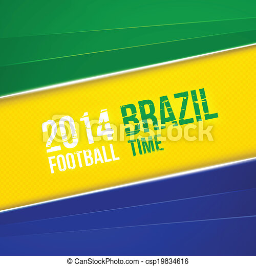 Abstract geometric background with Brazil flag colors. Vector illustration - csp19834616