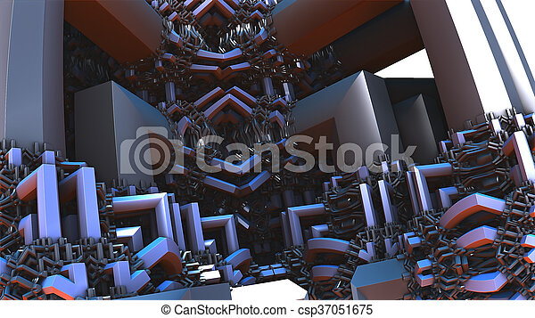 abstract geometric composition made in 3d software - csp37051675