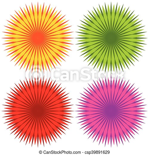 Abstract geometric flower shapes, elements (Set of 4 colors) - csp39891629
