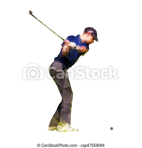 Abstract geometric golf player, polygonal silhouette - csp47559084