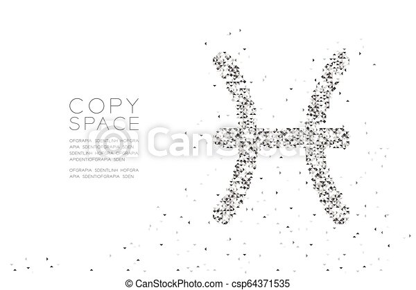 Abstract Geometric Low polygon square box pixel and Triangle pattern Pisces Zodiac sign shape, star constellation concept design black color illustration on white background with copy space, vector - csp64371535