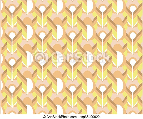 Abstract geometric pattern with wavy lines, stripes, diamonds - csp66490922