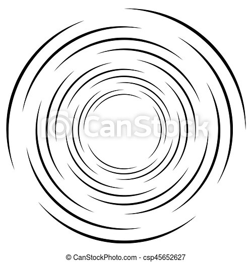 Abstract geometric spiral, ripple element with circular, concentric lines. Abstract monochrome element - csp45652627