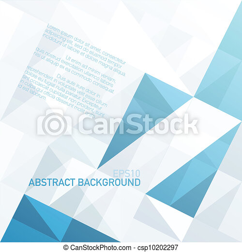 Abstract geometrical background with blue triangles and space for your message. Vector, EPS10 - csp10202297