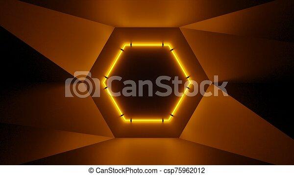 Abstract geometry lit by a neon orange hexagonal lamp - csp75962012