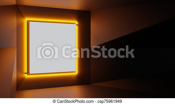 Abstract geometry lit by a neon orange square lamp - csp75961949