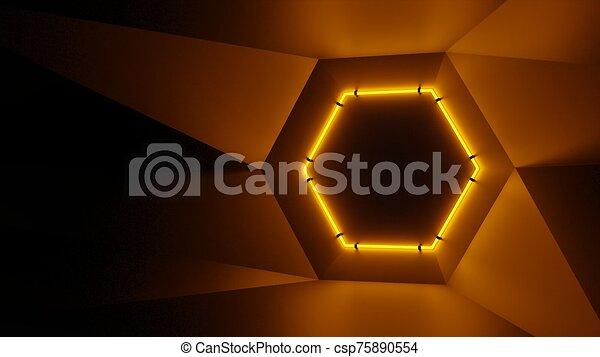 Abstract geometry lit by a neon orange hexagonal lamp - csp75890554