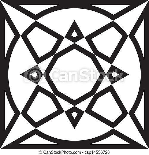 Abstract Geometrycal Arabesque Window Frame Triangle Circle Bassed