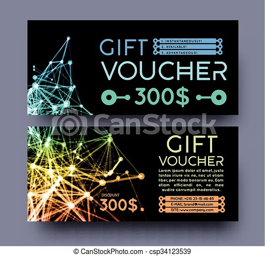 Abstract gift voucher design template. - csp34123539