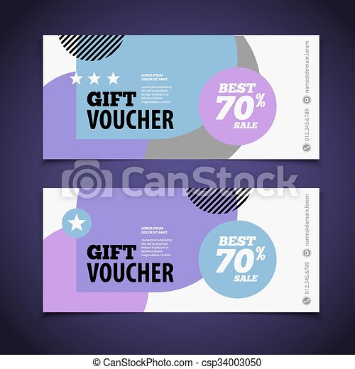 Abstract gift voucher or coupon design template. Voucher design, blank, print design, coupon. Gift voucher vector. Coupon template. Flyer design. Flyer template. Voucher abstract design. Voucher background - csp34003050