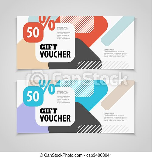 Abstract gift voucher or coupon design template. Voucher design, blank, print design, coupon. Gift voucher vector. Coupon template. Flyer design. Flyer template. Voucher abstract design. Voucher background - csp34003041