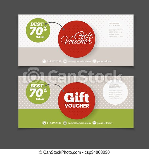 Abstract gift voucher or coupon design template. Voucher design, blank, print design, coupon. Gift voucher vector. Coupon template. Flyer design. Flyer template. Voucher abstract design. Voucher background - csp34003030