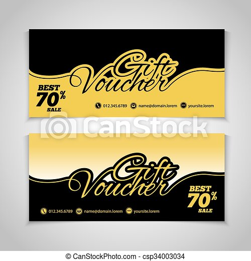 Abstract gift voucher or coupon design template. Voucher design, blank, print design, coupon. Gift voucher vector. Coupon template. Flyer design. Flyer template. Voucher abstract design. Voucher background - csp34003034
