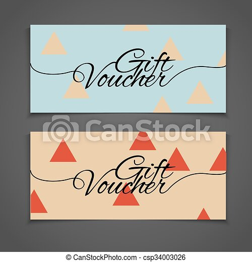 Abstract gift voucher or coupon design template. Voucher design, blank, print design, coupon. Gift voucher vector. Coupon template. Flyer design. Flyer template. Voucher abstract design. Voucher background - csp34003026