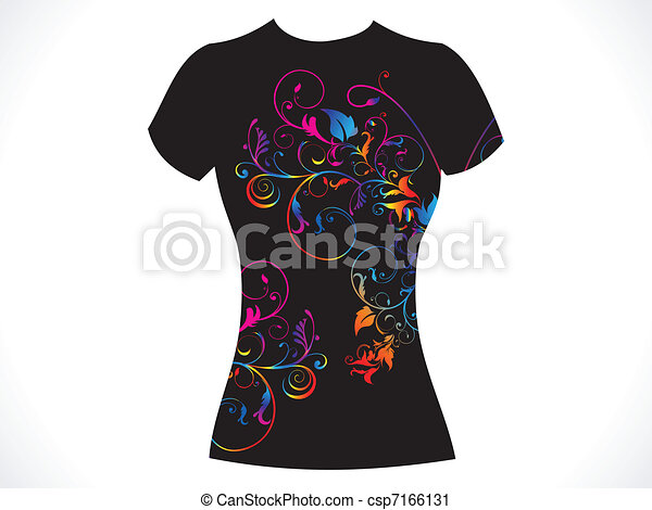 T Shirt Design Line Art : Abstract girl tshirt floral design vector illustration clip