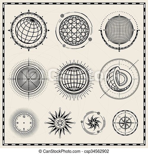 Abstract Globe And Compass Symbol Collection Of Outline Vector