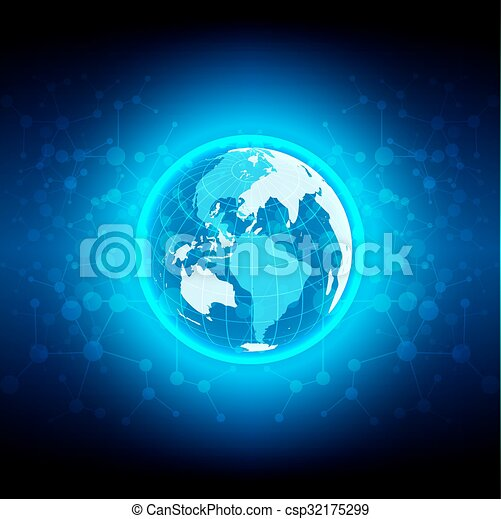 abstract  globe technology network  - csp32175299