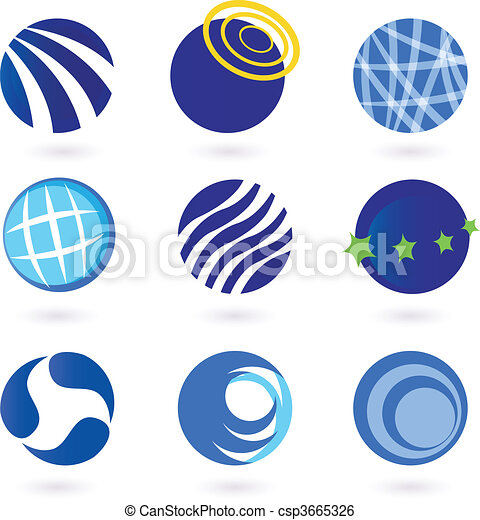 Abstract globes and spheres icons - csp3665326