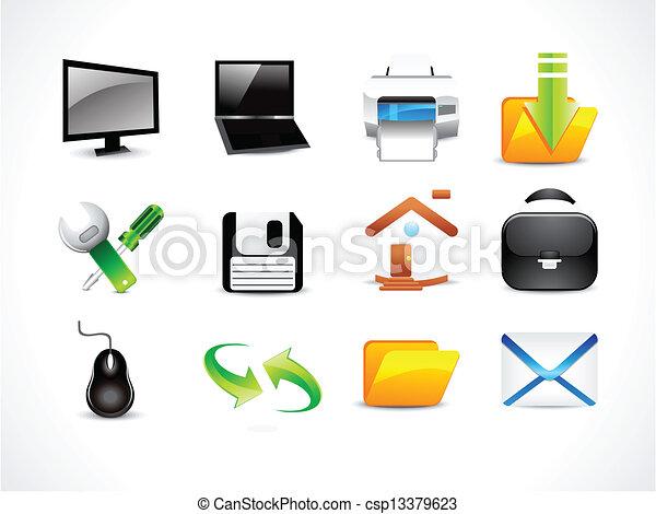 abstract glossy computre icon set - csp13379623