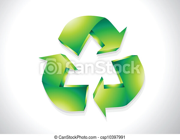 abstract glossy recycle icon vector - csp10397991
